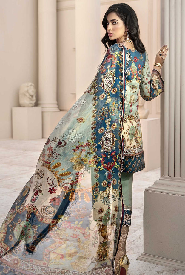 Pakistani Lawn Wear with Embroidery Backside