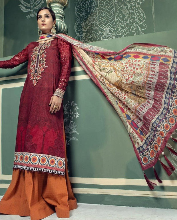 Pakistani Long Shirt with Flair Plazzo Designer Lawn dress