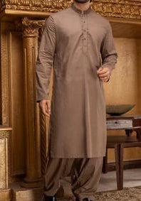 Pakistani Mens Wear Suit Neck Thread work Embroidery