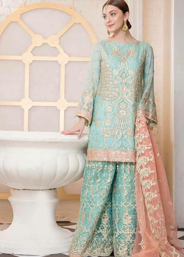 Pakistani Party Wear Dress | Tilla Embroidery & Sequence