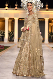 Pakistani Peplum Lehnga in Gold Color for Wedding