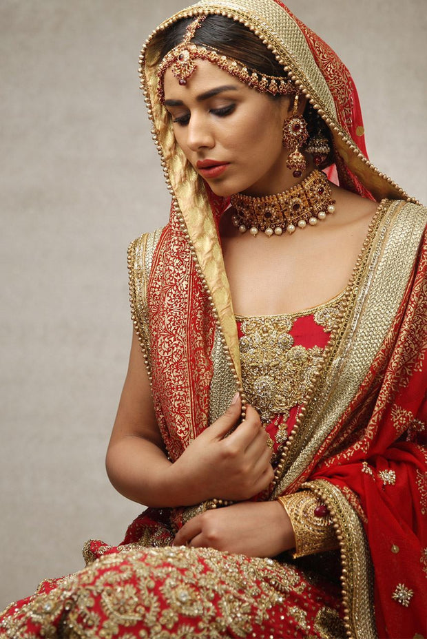 Pakistani Red Bridal Lehnga for Wedding Close Up