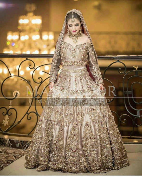 Pakistani Stunning Gold And Ivory Bridal Lehenga Dress