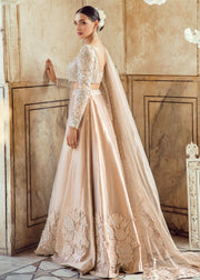 Pakistani Wedding Bridal Lehnga Dress in Ice Pink Color Backside View