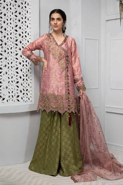 Pakistani angrakha dress in beautiful pink color
