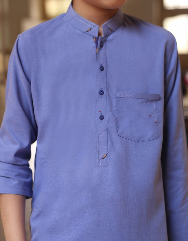 Beautiful Pakistani boys dress in blue color for casual wear # K2300