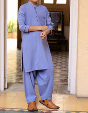 Beautiful Pakistani boys dress in blue color for casual wear