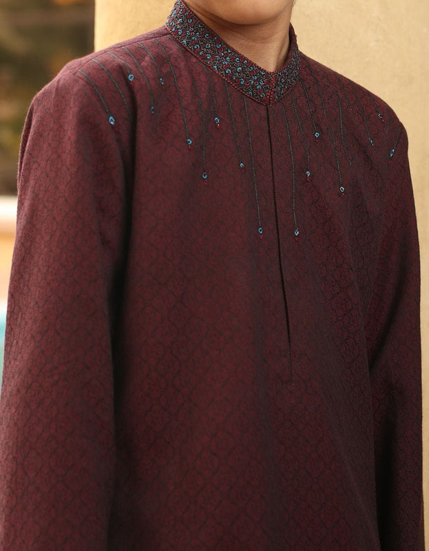 Graceful Pakistani boys kurta in maroon color # K2302