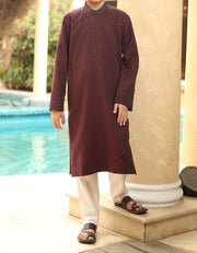Graceful Pakistani boys kurta in maroon color
