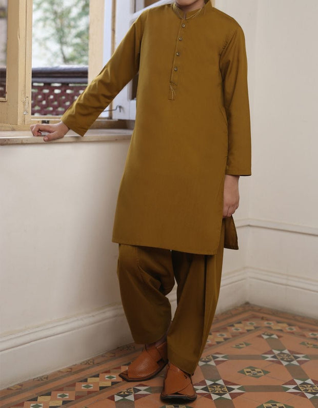 Beautiful Pakistani boys outfit in dark brown color # K2301