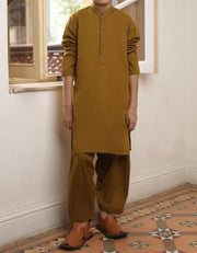 Beautiful Pakistani boys outfit in dark brown color
