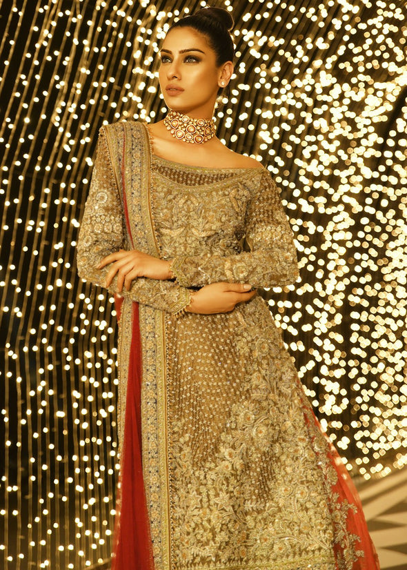 Pakistani bridal embroidered lehnga in gold and maroon color # B3369