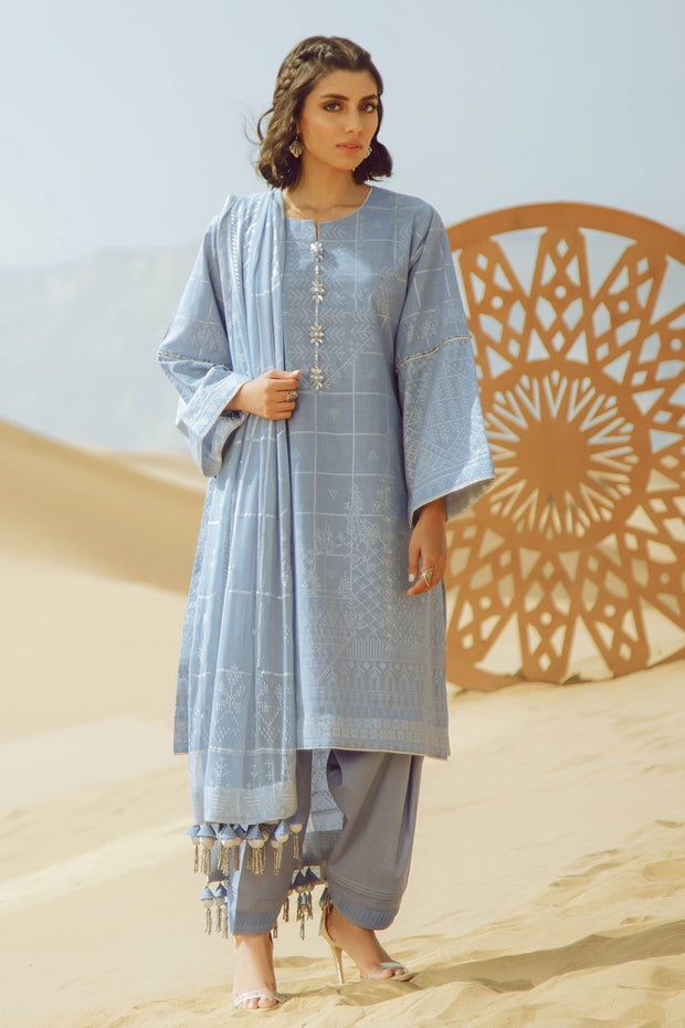 Latest Summer printed Pakistani casual lawn dress in blue color # P2503