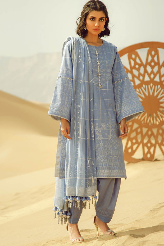 Latest Summer printed Pakistani casual lawn dress in blue color