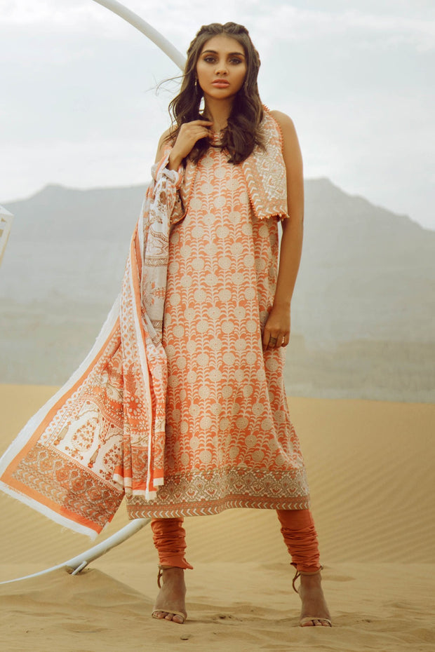 Latest Summer printed Pakistani casual lawn outfit in orange color