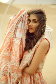 Latest Summer printed Pakistani casual lawn outfit in orange color # P2504