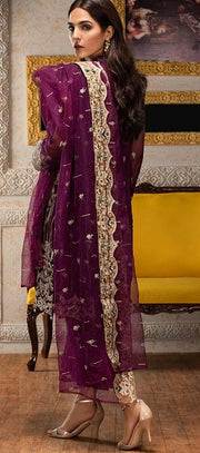 Beautiful Pakistani chiffon dress for party in purple color # P2235