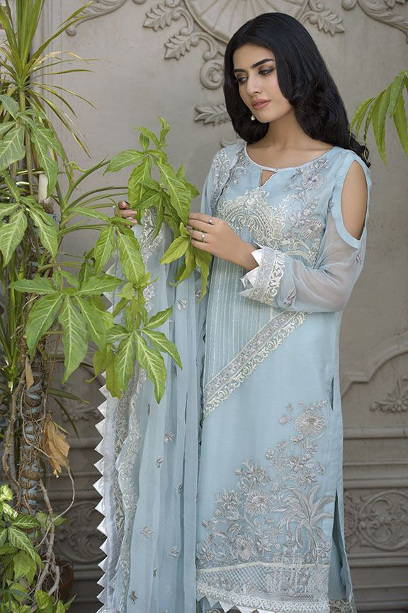 Beautiful Pakistani crinkle chiffon dress in aqua-blue color # P2291