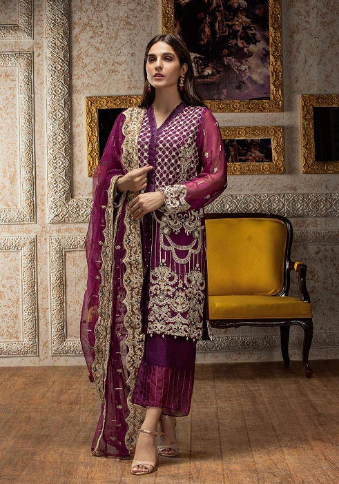 Beautiful Pakistani chiffon dress for party in purple color