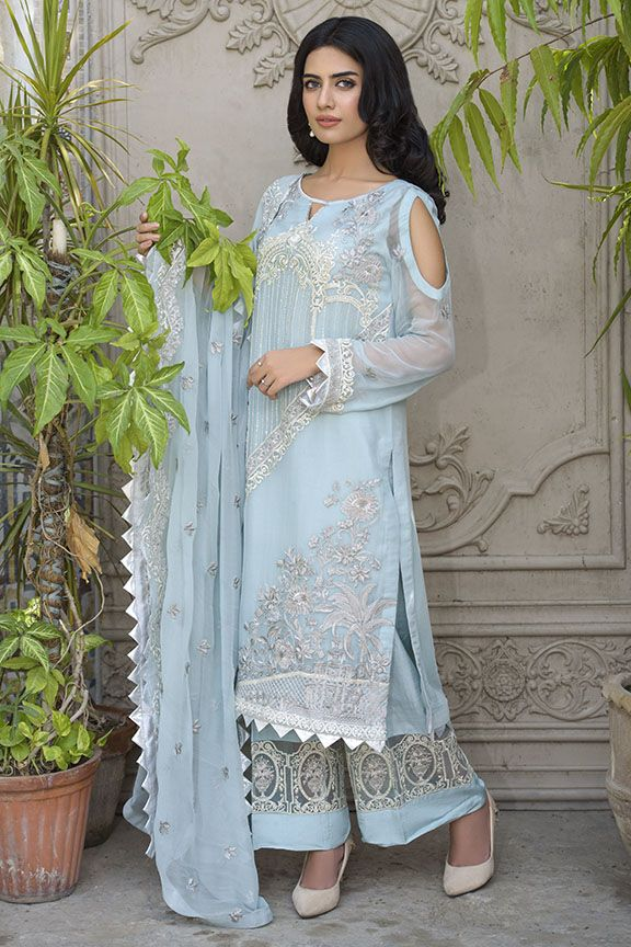 Beautiful Pakistani chiffon dress in aqua-blue color