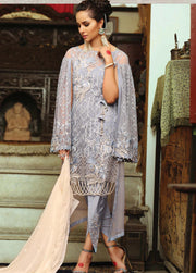 Pakistani chiffon dress in lavender colour