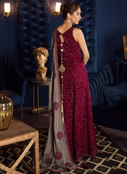 Beautiful Pakistani chiffon embroidered dress in magenta color # P2463