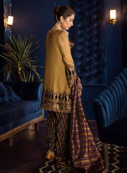 Beautiful Pakistani chiffon embroidered outfit in tobacco color # P2467