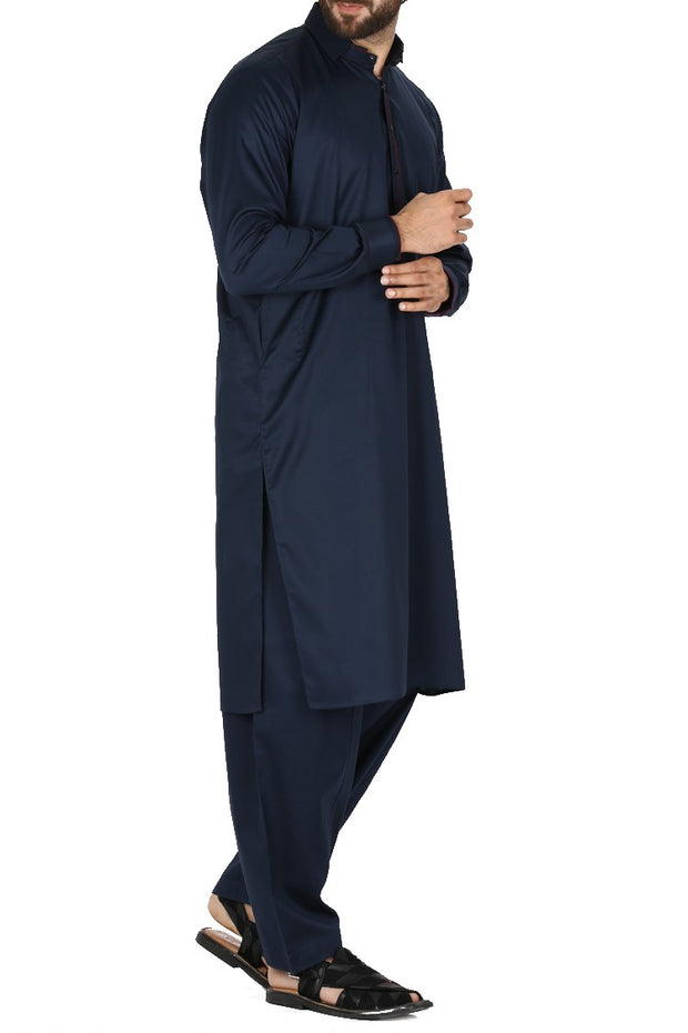 Pakistani dark blue kameez shalwar for men
