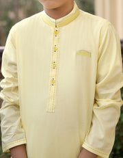 Pakistani designer boys kurta in lemon yellow color # K2306