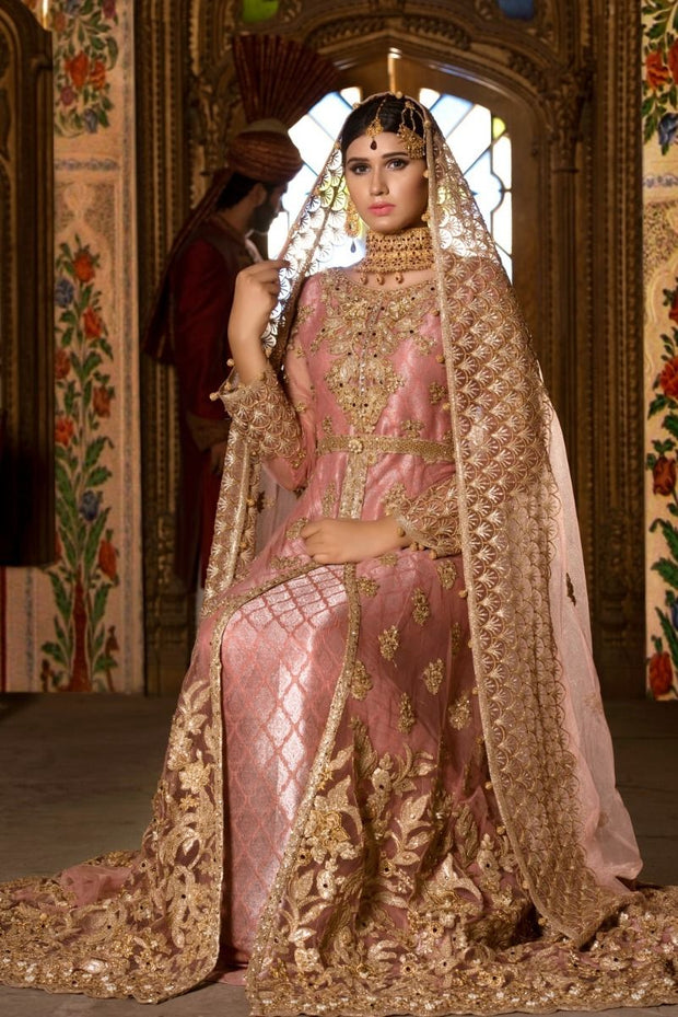 Beautiful Pakistani designer bridal dress in tea pink color # B3303