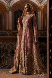 Beautiful Pakistani designer bridal dress in tea pink color