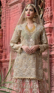 Beautiful Pakistani designer bridal outfit in skin color