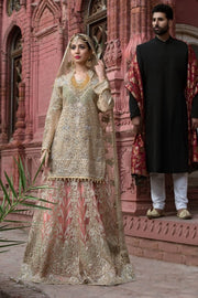 Beautiful Pakistani designer bridal outfit in skin color # B3302