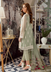 Latest Pakistani designer chiffon outfit embroidered in mint green color # P2418