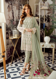 Latest Pakistani designer chiffon outfit embroidered in mint green color
