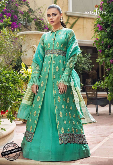 Pakistani designer dress in green color