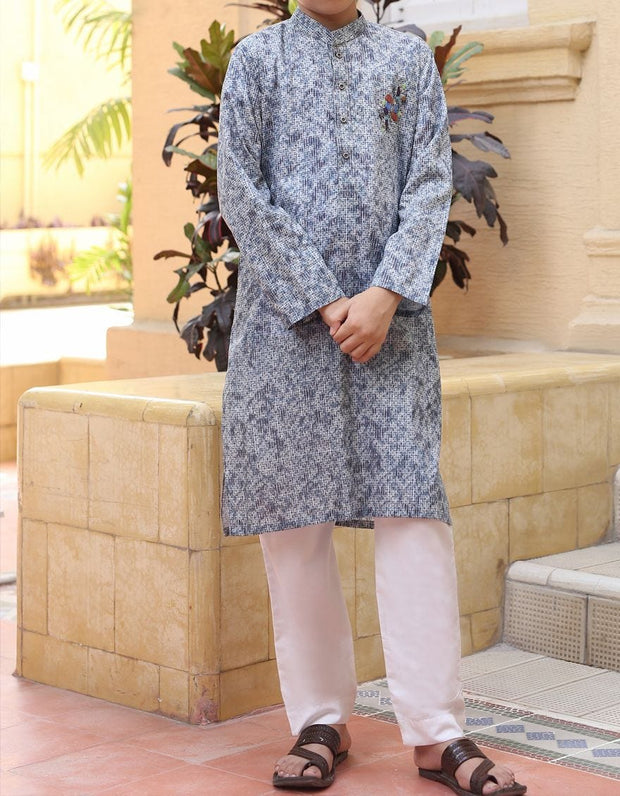 Graceful Pakistani designer kurta for boys in grey color # K2305