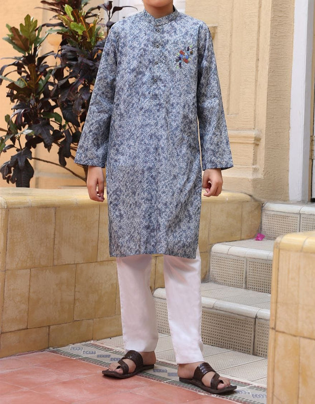 Graceful Pakistani designer kurta for boys in grey