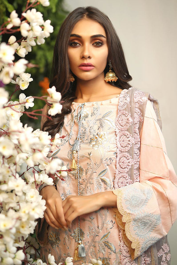 Pakistani designer lawn dress in pink color thread embroidered # P2265
