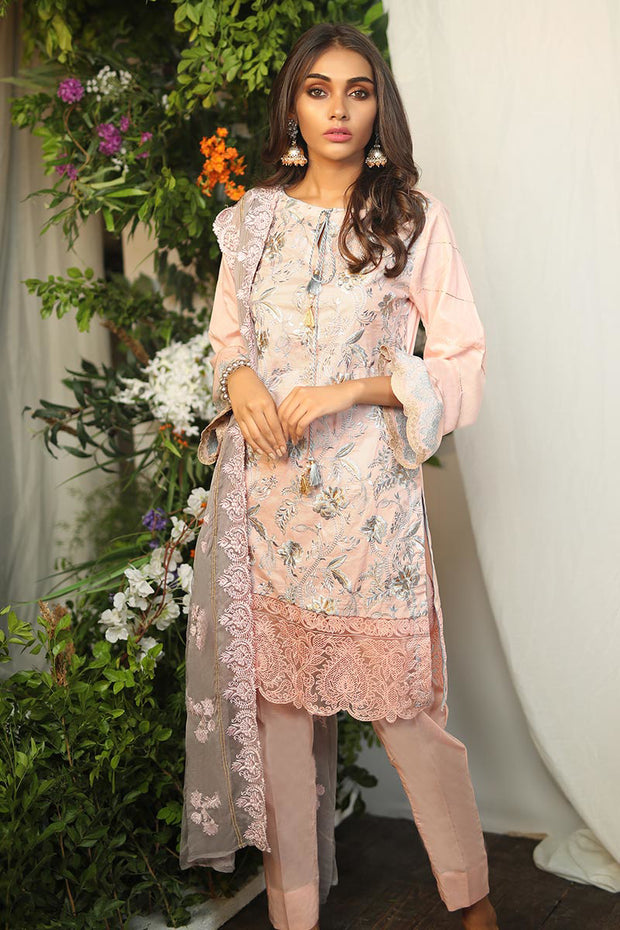 Pakistani designer lawn dress in pink color thread embroidered
