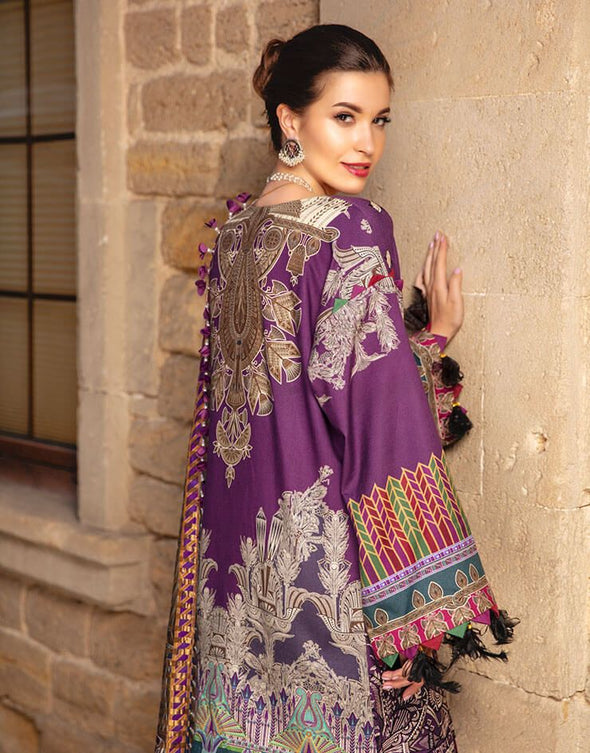 Latest embroidered Pakistani designer linen dress in purple color