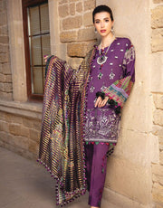 Latest embroidered Pakistani designer linen dress in purple color # P2413