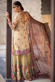 Elegant Pakistani designer outfit in vibrant gold color # B3322