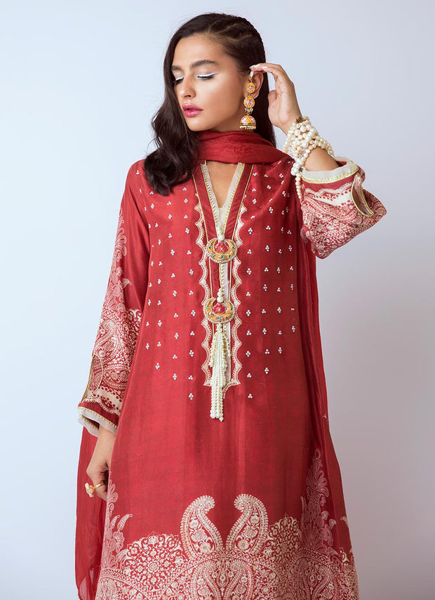 Beautiful Pakistani designer silk dress in red color # P2278