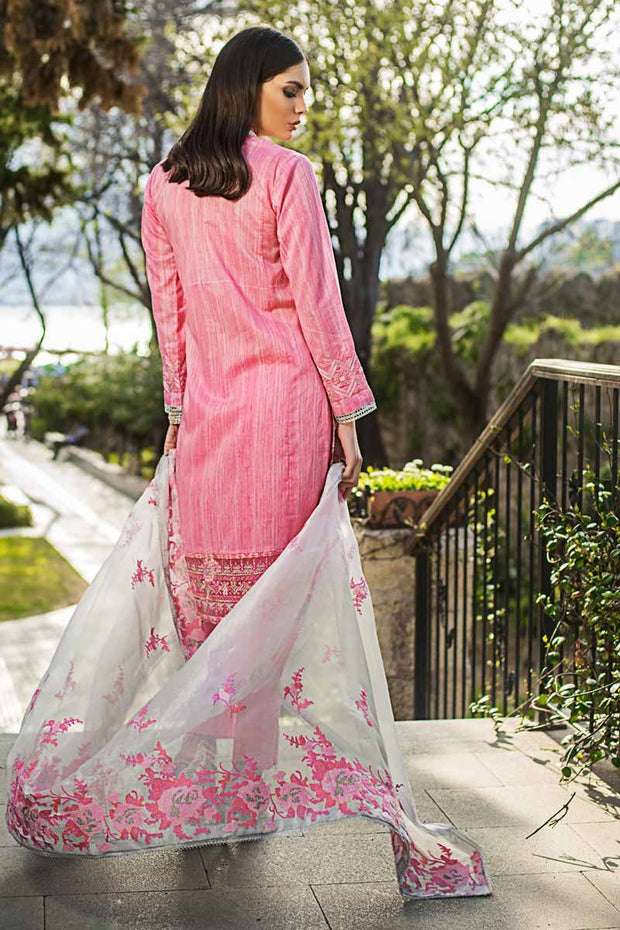 Latest Pakistani Eid dress embroidered in pink color # P2219