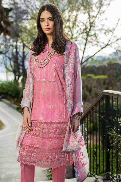 Latest Pakistani Eid dress embroidered in pink color