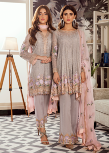 Latest Pakistani embroidered chiffon dress in grey and pink color # P2422
