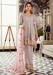 Latest Pakistani embroidered chiffon dress in grey and pink color