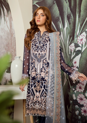 Latest Pakistani embroidered chiffon outfit in dark blue color # P2423