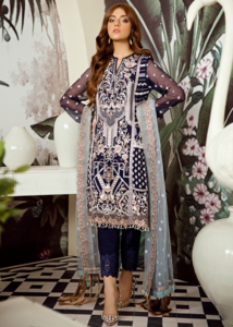 Latest Pakistani embroidered chiffon outfit in dark blue color